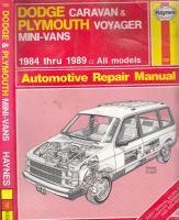 Dodge Caravan & Plymouth Voyager Mini-vans Automotive Repair Manual