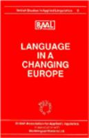 Language in A Changing Europe