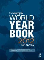 EUROPA WORLD YEAR BOOK 2012