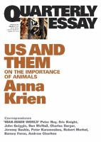 Us & Them: on the importance of animals