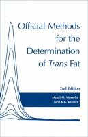 Official Methods for the Determination of Trans Fats