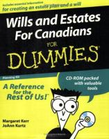 Wills and Estates for Dummies for Canadians