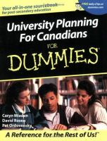 University Planning for Canadians for Dummies