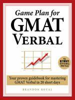 Game Plan for GMAT Verbal