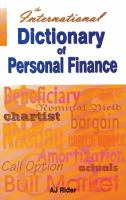 The International Dictionary of Personal Finance