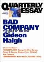 Quarterly Essay 10 Bad Company
