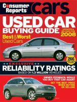 Consumer Reports Used Car Buying Guide [2008]