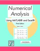 Numerical Analysis Using MATLAB and Excel, Third Edition