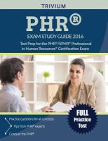 PHR/SPHR Exam Study Guide 2016