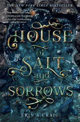 Book Cover of A house of salt and Sorrows shows gold lettering on a green background