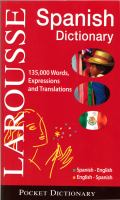 Larousse Pocket Dictionary : Spanish-English, English-Spanish