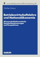 Betriebswirtschaftslehre und Nationalökonomie