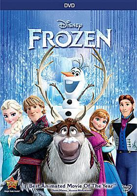 The cover of the movie Frozen shows two animated females, two animated males, a reindeer, and a snowman centered in the frozen woods.