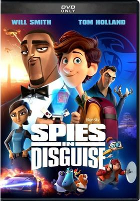 The cover of the movie Spies in Disguise shows various animated characters around the title. he bottom characters are pigeons. Blue Sky studios is named as well as leading voice actors Will Smith and Tom Holland.