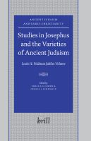 Studies in Josephus and the Varieties of Ancient Judaism