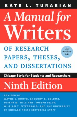 Cover image for A manual for writers of research papers, theses, and dissertations : Chicago Style for students and researchers