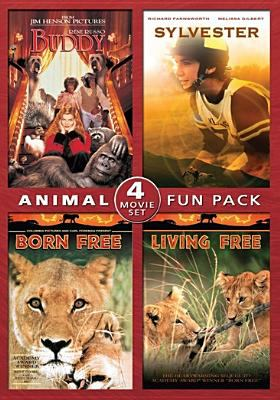 Cover image for Animal fun pack 4 movie set : Buddy ; Sylvester; Born Free; Living Free.