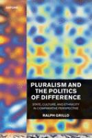 Cover image for Pluralism and the politics of difference : state, culture, and ethnicity in comparative perspective