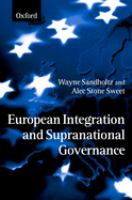 Cover image for European integration and supranational governance