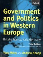 Cover image for Government and politics in Western Europe : Britain, France, Italy, Germany
