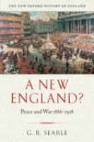 Cover image for A new England? : peace and war 1886-1918