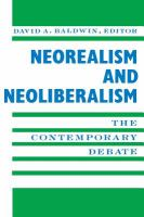 Cover image for Neorealism and neoliberalism : the contemporary debate