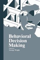 Cover image for Behavioral decision making