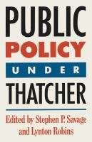 Cover image for Public policy under Thatcher