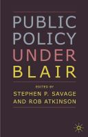 Cover image for Public policy under Blair
