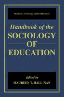 Cover image for Handbook of the Sociology of Education