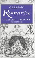 Cover image for German romantic literary theory