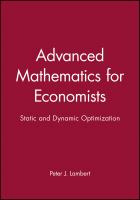 Cover image for Advanced mathematics for economists : static and dynamic optimization