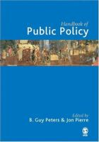 Cover image for Handbook of public policy