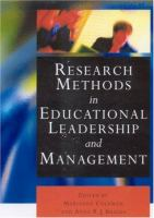 Cover image for Research methods in educational leadership and management