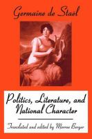 Cover image for Politics, literature, and national character