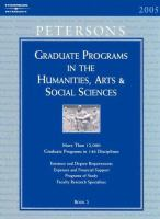 Cover image for Peterson's graduate programs in the humanities, arts & social sciences, 2005.