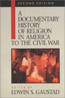 Cover image for A Documentary history of religion in America