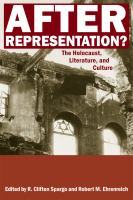 Cover image for After representation? the Holocaust, literature, and culture