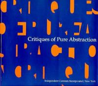 Cover image for Critiques of pure abstraction
