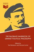 Cover image for The Palgrave Handbook of Leninist Political Philosophy