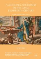 Cover image for Fashioning authorship in the long eighteenth century : stylish books of poetic genius