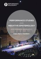 Cover image for Performance Studies and Negative Epistemology Performance Apophatics