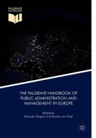 Cover image for The Palgrave Handbook of Public Administration and Management in Europe
