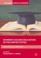 Cover image for Women's Higher Education in the United States New Historical Perspectives