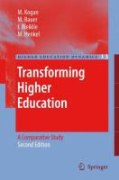 Cover image for Transforming Higher Education A Comparative Study (2nd edition)