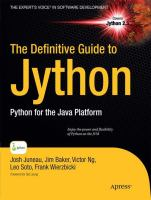 Cover image for The Definitive Guide To Jython Python For The Java™ Platform