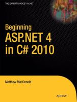 Cover image for Beginning ASP.NET 4 in C# 2010