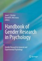 Cover image for Handbook of Gender Research in Psychology Volume 1: Gender Research in General and Experimental Psychology