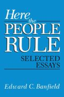 Cover image for Here the People Rule Selected Essays
