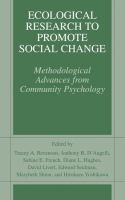 Cover image for Ecological Research to Promote Social Change Methodological Advances from Community Psychology